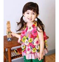 Sleeveless Floral Print Layer Girls Top ZGT 307 Red